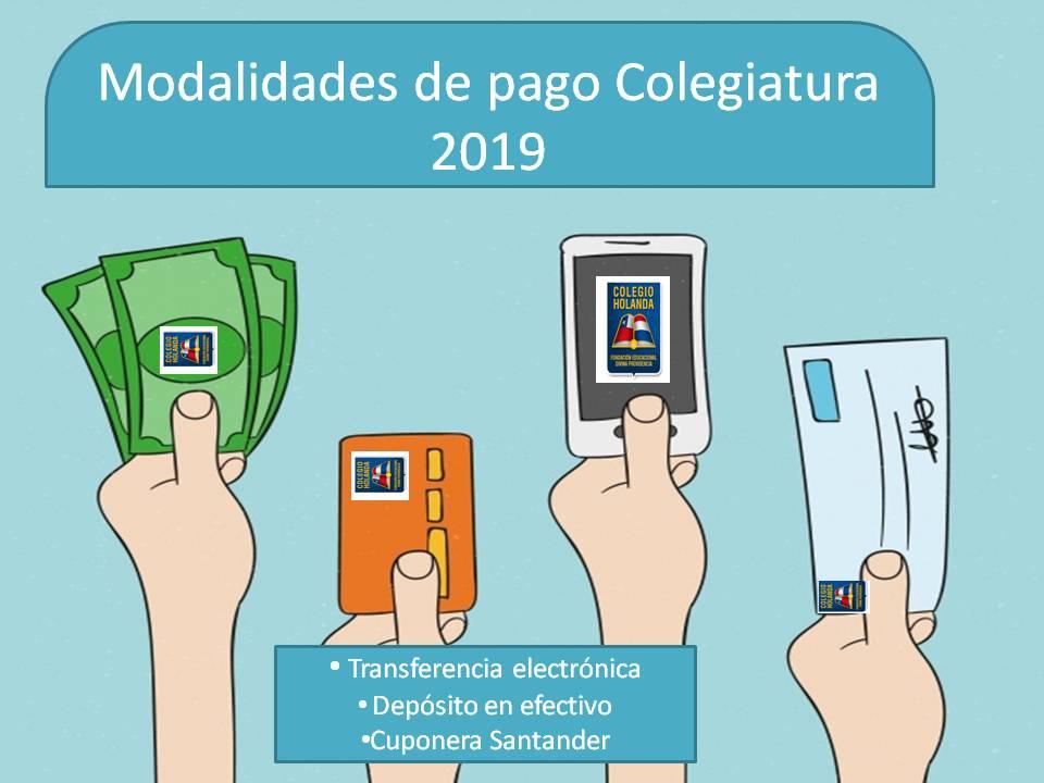 Modalidades de pago Colegiatura 2019