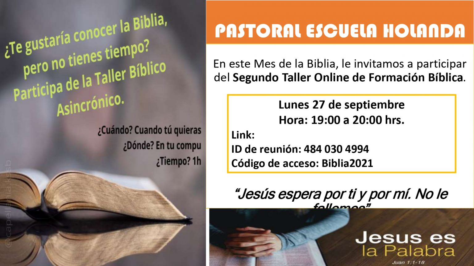 Invitación para Taller Bíblico 2da sesión